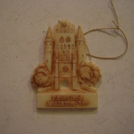 1942-06-27/28 German Red Cross donation gift. Famous city gates - Friedland - Anklamer Tor. Synthetic white, brown patina  T072 (14159)