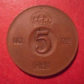 Gustaf VI Adolf , 5 Öre 1968 U     KM822 (12630)