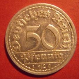 Weimar Republic - 50 Pfennig 1920 D. Al J301/KM27 (6200)