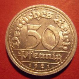 Weimar Republic - 50 Pfennig 1921 J. Al J301/KM27 (6287)