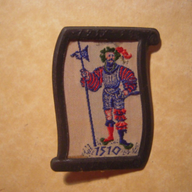 1938-02-5/6 German WHW donation pin. Uniform and history - Landsknechte 1510. Woven fabric in metal frame T106 (12745)