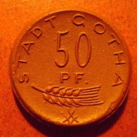 Gotha , 50 Pfennig 1921 Quäker ( P F.). Meissen Porselein 23mm  M9371.4/Sch129a - II (11205)