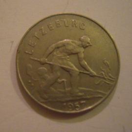 Luxembourg - Charlotte , 1 Franc 1957. CuNi KM46.2 (15178)