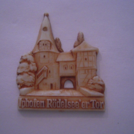 1942-06-27/28 German Red Cross donation gift. Famous city gates - Iphoven - Rödelseer Tor. Synthetic white with brown patina 40mm T074 (15919)
