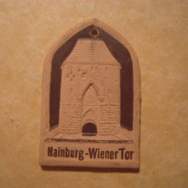 1942-06-27/28 German Red Cross donation gift. Famous city gates - Hainburg (AUT) - Wienertor. Pressed cardboard brown T173 (13042)