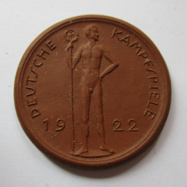 1922 Berlin , German Summer Games , participants souvenir. Teichert - Meissen brown 38mm Not mentioned in Scheuch (16202)