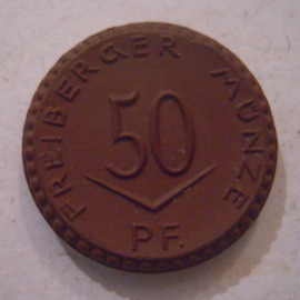 Freiberg , .50 Pfennig 1921 - without cross. Meissen porcelain 21mm Sch119a - III (15860)