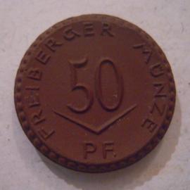 Freiberg , .50 Pfennig 1921 - ohne Kreuz. Meissen Porzellan 21mm Sch119a - III (15860)