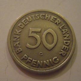 Germany - BRD , 50 Pfennig 1949 G - Bank deutscher Länder.      J379/KM104 (14967)