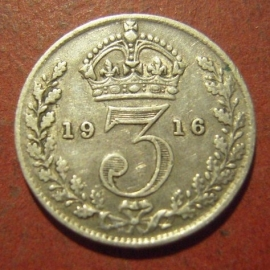 Great Britain -  George V , 3 Pence 1916     KM813 (12073)