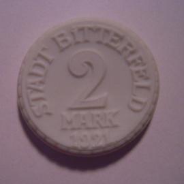 Bitterfeld , 2 Mark 1921. Meissner Ofen- & Porzellanfabrik 30mm Sch502n - III (14200)