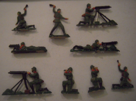 1920's - WWII German infantry , 9x semi-flat 40mm scale (15407)