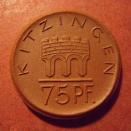 Kitzingen , .75 Pfennig 1921. Meissen Porselein 27mm Sch148a - II (10938)