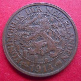 Wilhelmina - 1 Cent 1914. Xf+ !!! Bronze KM152  (3934)