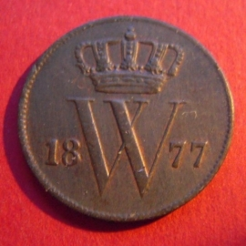 William III - 1 Cent 1877 Broadaxe. Near XF !!! Cu KM100 (3958)