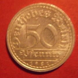 Weimar Republic - 50 Pfennig 1921 A. Al J301/KM27 (6203)