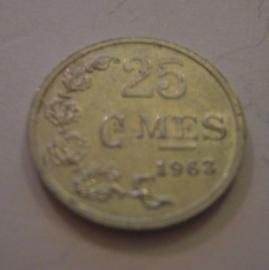 Luxembourg - Charlotte , 25 Centimes 1963. Aluminium KM45a.1 (15170)