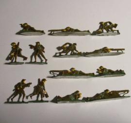 1914 Engelse infanterie WO I , Vickers machinegeweer eenheid , 13x plat 30mm schaal. Kieler Zinnfiguren (16425)
