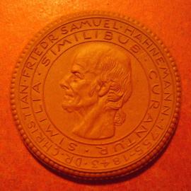 1922 Meissen , DR.Hahnemann memorial donation. Meissen Porcelain 42mm Sch805a - VII (11042)