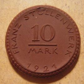 Cologne / Köln , 10 Mark 1921  - Franz Stollenwerk. Meissen Porcelain 25mm Sch300a - IV (13572)