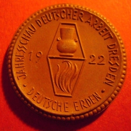1922 Dresden , Expo German Industry , Meissen  porcelain  30,0mm Sch1282a - IV  (758)