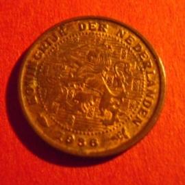 Wilhelmina -  ½ Cent 1936. Unc !!! Bronze KM138 (3913)