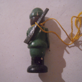 1939-12-16/17 German WHW donation gift. Puppets with stuck arms - Hunter. Wooden colorful hand painted  T234 (16185)