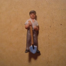 1939-03-4/5 German WHW donation pin. Producing Germany - Worker with shovel. Porcelain 44mm  T203.1 (13638)
