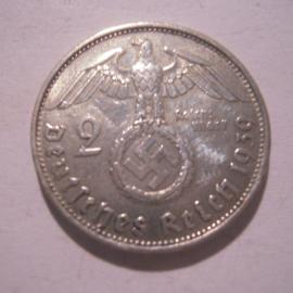 Third Reich - 2 Reichsmark 1939 B. Silver J366/KM93 (16154)