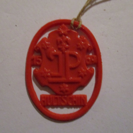 1941-06-14/15 German VDA donation gift. Coat-of-arms German border towns - Hultschin / Hlučín (CZE). Synthetic red 37x28mm T123 (16275)