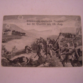 6.1.1915 Field postcard , Bavarian Infantry Division. Storming German infantry at St.Quentin on Aug.28.  134x86mm (14209)