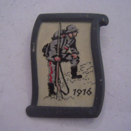 1938-02-5/6 German WHW donation pin. Uniform and history - 1916 German infantry soldier WWI. Woven fabric in metal frame 37x50mm T117 (14103)