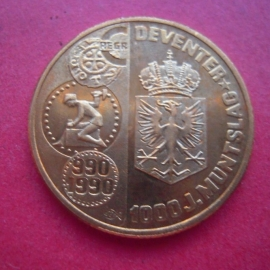 Beatrix - 1 Ecu 1990 - Deventer 1000 yrs coinage. Brass 26mm (6985)