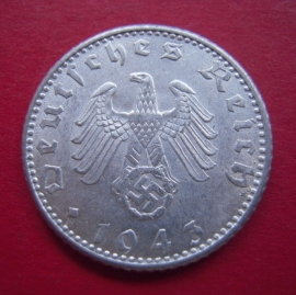 Germany - Third Reich , 50 Reichspfennig 1943 D , near Unc !!    J372/KM96 (4334)