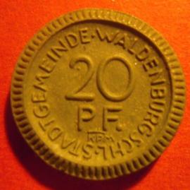 Waldenburg / Walbrzych (POL) , .20 Pfennig 1921. Krister Porzellan-Manufakter 22mm Sch552f - III (6067)