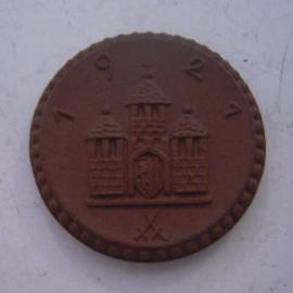 Freiberg , .50 Pfennig 1921 - mit Kreuz. Meissen Porzellan 25mm Sch120a - III (14428)