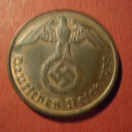 Germany - Third Reich , 2 Reichspfennig 1939 D , some original color !!     J362/KM90 (7110)