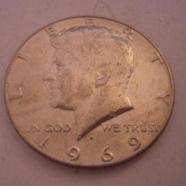 USA , Half Dollar 1969 D - Kennedy. Silver !!!      KM202a (14515)