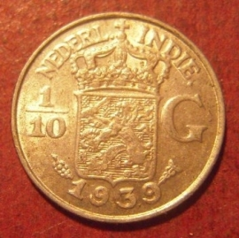 Wilhelmina  , 1/10 Gulden 1939 !!!    KM318 (11479)