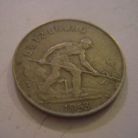 Luxembourg - Charlotte , 1 Franc 1953. CuNi KM46.2 (15173)