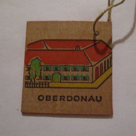 1942-11-21/22 German WHW donation gift. German farmhouses - Upper Danube/Oberdonau (AUT). Wooden , colorful painted 38x38mm T524 (16302)
