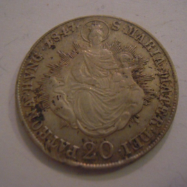 Hungary - Ferdinand V , 20 Krajczar 1847 - Madonna with child. Silver KM422 (15183)