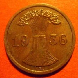 Germany - Third Reich , 2 Reichspfennig 1936 F       J314/KM38 (6657)