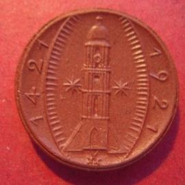 Amberg , 25 Pfennig 1921 ,  geen strepen raam 1 + 3. Meissen porselein 24mm M474.2/Sch99a - I (10017)