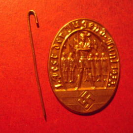 1933 June Hitlerjugend - German Youth Festival pin. Brass coloured light metal 28x37mm (12450)