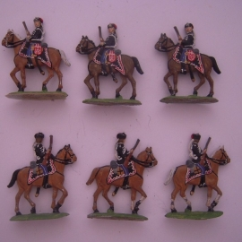 1900 Prussian hussars , 6x semi-flat 35mm scale (14259)