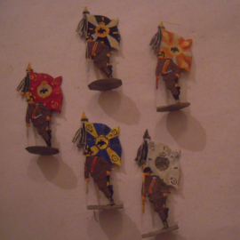 1910 - 1914 German / Prussian flag bearers , 5x flat 30mm scale (15894)