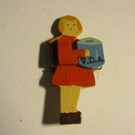 1935-3-9 German VDA donation pin. Student collectant - girl red dress. Wooden, hand painted T085 (16419)