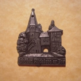 1942-06-27/28 German Red Cross donation gift. Famous city gates - Iphoven - Rödelseer Tor. Synthetic grey , black patina  T084 (12725)