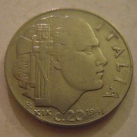 Kingdom Italy - Victor Emmanuel III , 20 Centesimi 1941 R      KM75b (14082)
